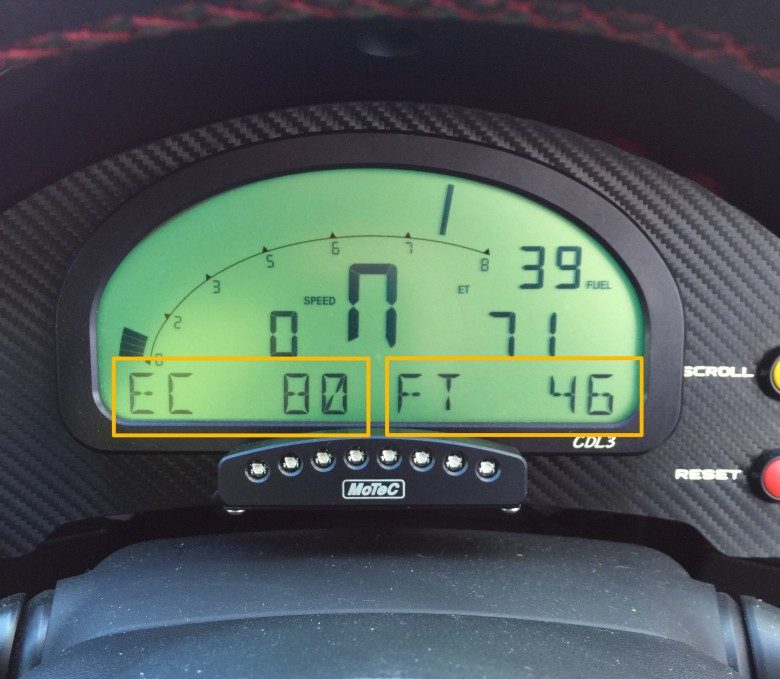 motec display showing ethanol content and fuel temp